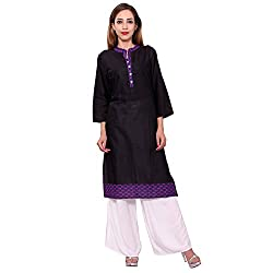 MSONS Women's Black & Purple Stripes Long Kurti in Bombay Dyeing Cotton Fabric