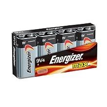 Energizer Max Alkaline 9 Volt, 4-Count
