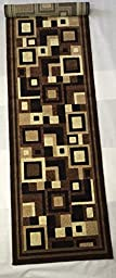 Homemusthaves-Brown Beige Black Geometric Modern Rug Rugs Carpet Boxes Runner New (2X7)