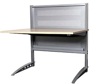 Höhenverstellbarer Schreibtisch T-Delta Memowall, Alu-Silber/Buche hell, 120x80cm