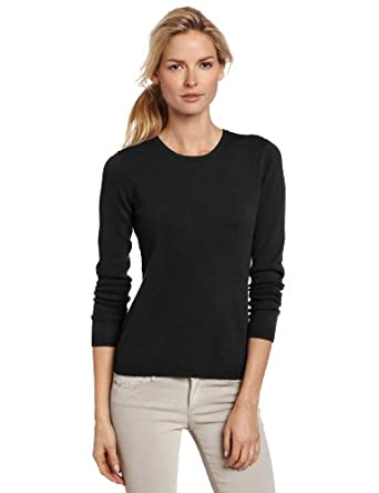 Sofie Women's 100% Cashmere Long Sleeve Crew Neck Pullover Sweater, Black, X-Large