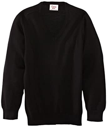 Charles Kirk Coolflow Fully Fashioned V Neck Unisex Boy's and Girls School Jumper Black C30 IN