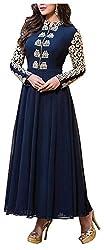 Poonam Fab Women's Chiffon Unstitched Salwar Suit (Blue)