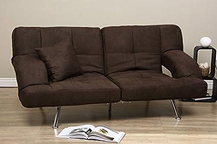 Best Modern Dark Brown Microfiber Convertible Sofa Bed Sleeper Couch