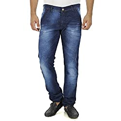 Jeans For Men Slim Fit Stretch Damaged Ripped Torn Blue New Fashion Style Trendy