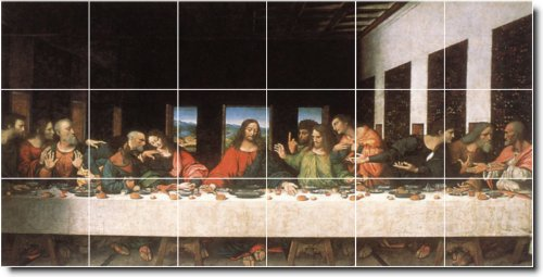 Leonardo Da Vinci Religious Floor Tile Mural 6. 18X36 Inches Using (18) 6X6 Ceramic Tiles. front-1060616