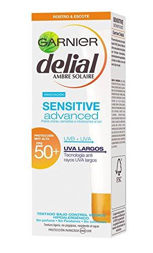 Garnier Crema Idratante, Delial Crema Facial Sensitive, SPF 50 e, 50 ml