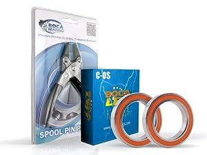Abu Garcia Revo STX BaitcasterBearing Upgrade Kit & Spool Pin Pliers Combo by Boca Bearing Company
