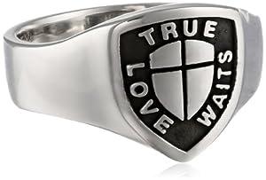 Bob Siemon Men's Sterling Silver True Love Waits Signet Ring, Size 9