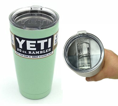 Custom Yeti Coolers 20 oz Rambler Tumbler Cup with Extra Spill Proof Lid - Keeps your drink cold or hot for hours (Mint Green)