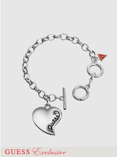 GUESS Simple Heart Charm Bracelet, SILVER