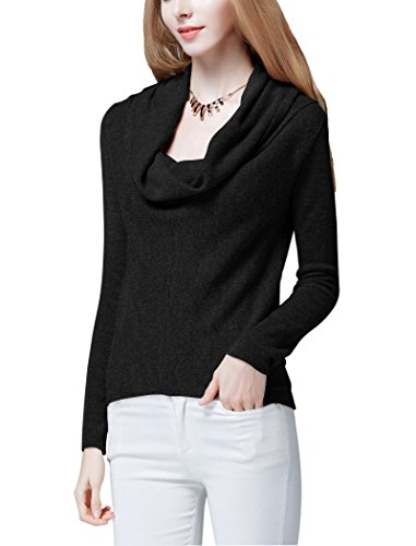 Women's Cowl Neck Oversized Long Sleeve Stretch Pullover Sweater Knit Top (L (US 12-14), Black) (Cowl Cashmere compare prices)