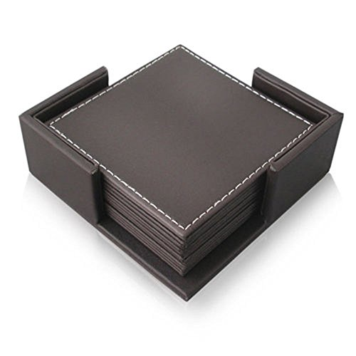 E.Morningstar PU Leather Drink Coasters Table Mats with Holder for Cup Glass Tableware, Square Coaster, Set of 6, Size 4 x 4 Inch - Brown