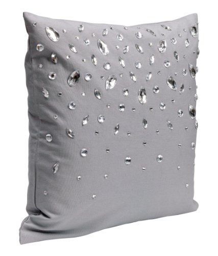 """Decorative Throw Pillow Cover Dew Drop Diamond 100% Cotton Rhinestone Accent Throw Pillow Cushion Cover 16 X 16"""" (Gray) front-960609"""