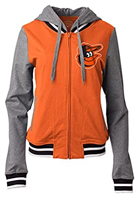 MLB Women's Zip Front French Terry Hoodie with Contrasting Sleeves