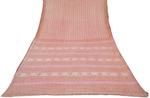 vintage-indian-100-pure-cotton-saree-salmon-imprime-floral-sari-craft-tissu