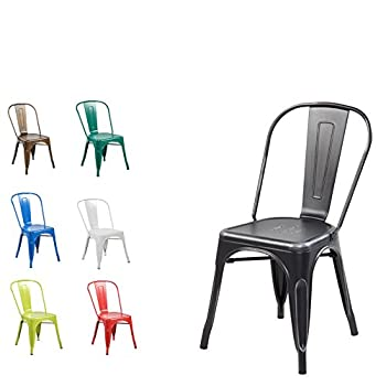 Modern Vintage Metal Stackable Dining Chairs with Backs (Set of 4) Tolix Kitchen Chair Matt Silver