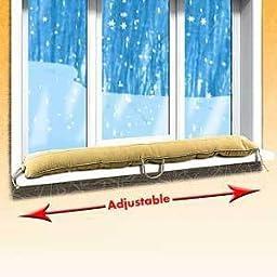 Heavy Duty Adjustable Fleece Door or Window Draft Guard Stopper in Tan