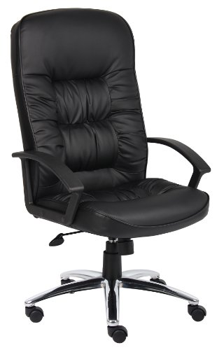 Boss High-Back Leatherplus Chair with Chrome Base