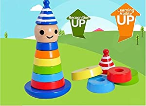 Fajiabao Cute Wooden Clown Stacker Roly-Poly Rainbow Color Tower Toy Detachable for Early Educational Learning