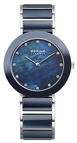 Bering Women's Ceramic 35mm Multicolor Steel Bracelet & Case Quartz Blue Dial Analog Watch 11435-787