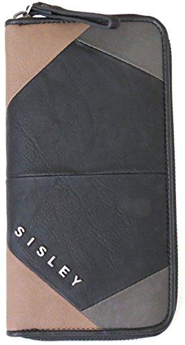 Sisley Portafoglio di colore nero, fango e albicocca
