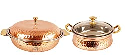 IndianArtVilla Handmade High Quality Stainless Steel Copper Royal Donga Casserole Capacity 750 ML with 1 Casserole Handi wit Glass Tumbler Lid volume 500 ML for Serving Indian Dishes Restaurant Home Hotel Ware Gift Item