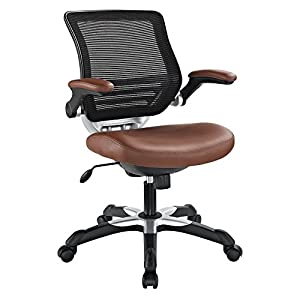 LexMod Edge Office Chair with Mesh Back and Black Leatherette Seat