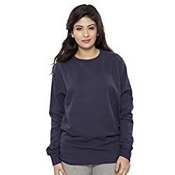 Clifton Womens Cotton Sweat Shirt Full Sleeve Round Neck - Navy - Small