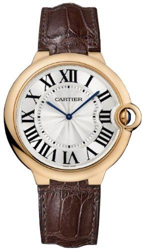 Cartier Ballon Bleu Extra Large Silver Dial 18kt Rose Gold Leather Mens Watch W6920054