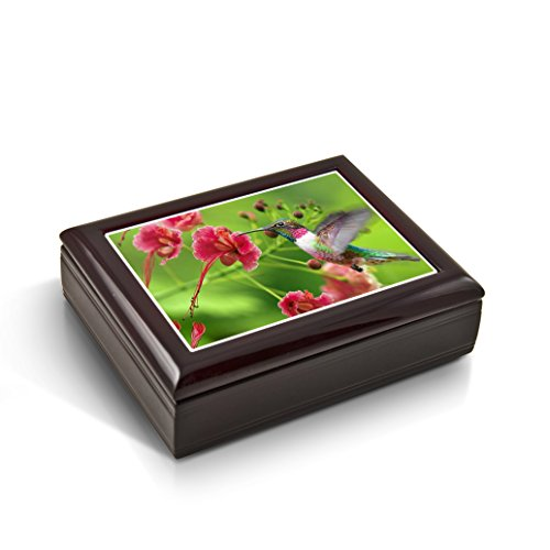 Frozen In Time; Hummingbird Tile Musical Jewelry Box With 18 Note Tune-A Dream Is A Wish Your Heart Makes
