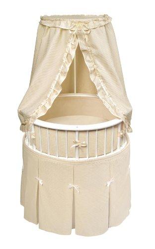Imagen de Badger Basket Elegance Ronda bebé cuna, blanca con Waffle Ecru