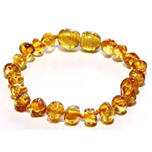 Baltic Amber Baby Teething Anklet/Bracelet w/Jewelry Pouch - Rounded Lemon