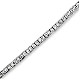 14k White Gold Princess-cut Diamond Tennis Bracelet (4 cttw, H-I, I1-I2) from La4ve Diamonds