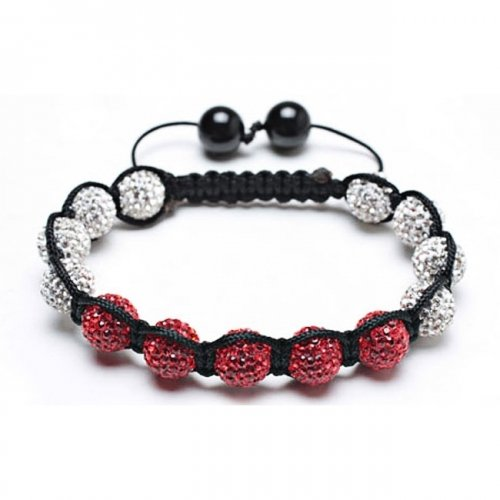 Christmas Gifts Bling Jewelry Crystal Beads Bracelet Shamballa Inspired Red White 9mm