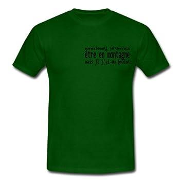 Spreadshirt, Je devrais être en montagne, Tee shirt classique Homme, vert bouteille, S