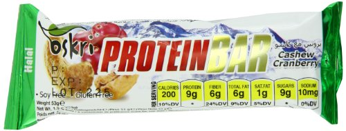 Oskri Protein Bar, Cashew And Cranberries, 1.9-Ounce (Pack Of 20)