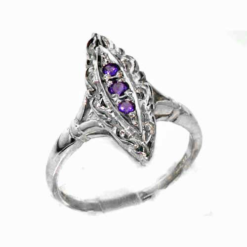 Rare Vintage Design Solid Sterling Silver Natural Amethyst Ring with English Hallmarks - Size 11.75 - Finger Sizes 4 to 12 Available - Suitable as an Anniversary ring, Engagement ring, Eternity Ring, or Promise ring