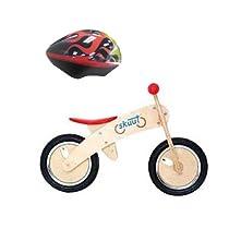 Diggin Active Skuut Wooden Balance Bike with Lamborghini Red Toddler Helmet