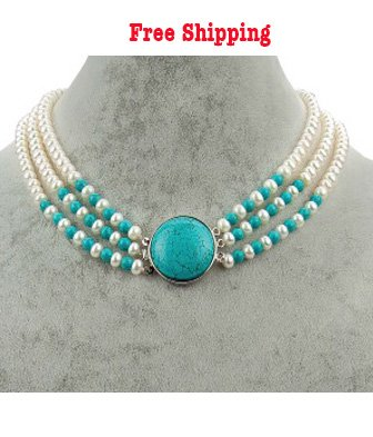 3 Strands Freshwater Pearl Necklace with a Turquoise Clasp, 18