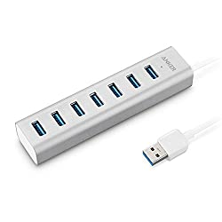 Anker Unibody USB 3.0 7-Port Aluminum Hub with Built-in 1.3ft USB 3.0 Cable and Included 5V / 3A Power Adapter (Powered via USB or Power Outlet)
