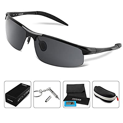 COSVER Men Women Fashion Sports Sunglasses Polarized Glasses for Driving Cycling Running Fishing Golf Unbreakable - Metal Frame Al-Mg Glasses