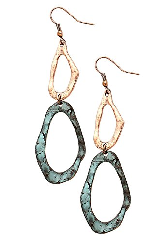 rosemarie-collections-womens-geo-hammered-metal-hoop-double-drop-earrings-patina-copper-color