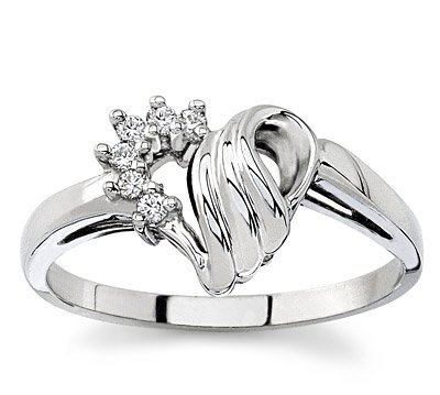 14k White Gold Diamond or Yellow Gold Heart Ring (H/SI, 1/13 ct. tw.)