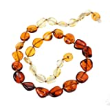 Genuine Baltic Amber Teething Necklace for Baby - Olive-shape Multi Color Beads