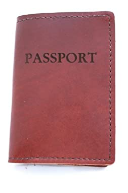 Rustic Genuine Leather Passport Holder, Saddle Brown