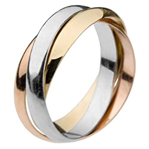 18ct Yellow Gold, Rose Gold and Rhodium Plated Russian Wedding Ring
