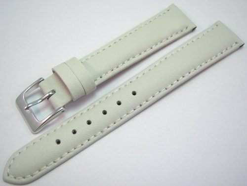 White Padded Leather Watch Strap Band With A Stitched Edging And Nubuck Lining 16mm