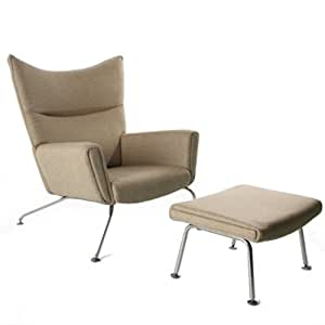 Hansen Wing Chair And Ottoman In Wool Beige Living Room Chairs