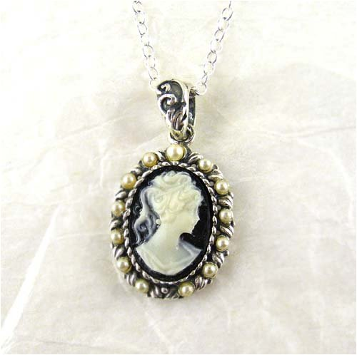 Pearls and Black Cameo Necklace